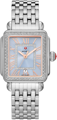 Michele Deco Madison Stainless Diamond Watch, Blue/Silver