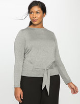 ELOQUII Plus Size Long Sleeve Tie Front Top