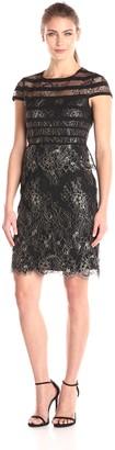Alex Evenings Women's Cap Sleeve Metallic Lace Sheath Dress (Petite and Regular Sizes)
