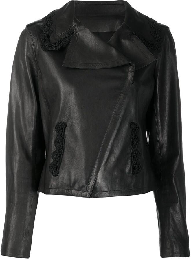 Chanel Pre Owned off-centre front leather jacket