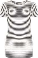 **Maternity Navy and White Stripe Short Sleeve Ribbed Top