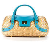 Rafe New York Beige Woven Coated Straw Blue Leather Trim Satchel