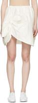 Simone Rocha Ivory Silk Taffeta Ruffles and Knots Miniskirt
