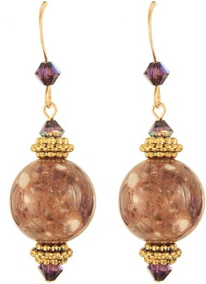 Ardent Designs Gilded Marble Amthyst Earrings