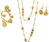 Gucci Floral Collection Horse-Bit 18K Yellow Gold 3 Piece Charm Set Necklace, Earrings and Bracelet