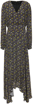 Paul Smith Asymmetric Floral-print Crepe De Chine Midi Dress
