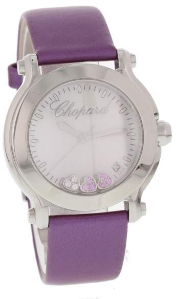 Chopard Happy Hearts 8475 Stainless Steel & Leather Mother-of-Pearl Dial Quartz 36mm Womens Watch
