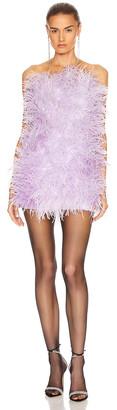 ATTICO Ostrich Embroidered Strapless Mini Dress in Lilac   FWRD