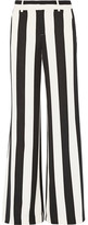 Alice + Olivia Paulette Striped Stretch-crepe Wide-leg Pants - Black