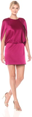 Halston Women's Cape Sleeve Round Neck Satin Dress