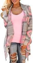 Azbro Women's Casual Geometric Knit Drape Open Front Cardigan, L