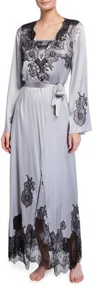 Myla Pansy Garden Collection Long Silk Robe
