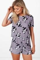Boohoo Petite Kelly Panda Logo Pyjama Set multi