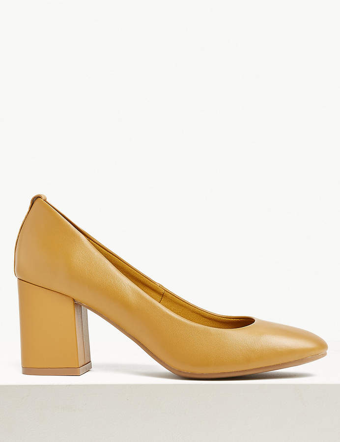 Marks and Spencer Leather Round Toe Court Shoes
