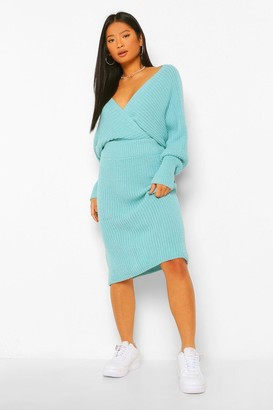 boohoo Petite Knitted Wrap Top and Skirt Co-Ord