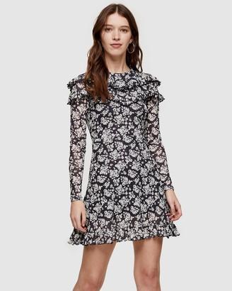 Topshop Long Sleeve Mesh Ruffle Mini Dress
