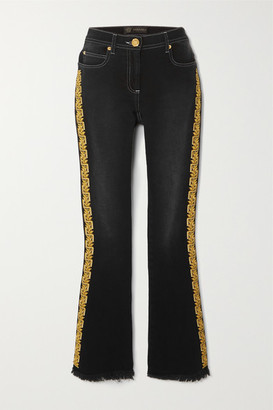 Versace Frayed Embroidered Mid-rise Flared Jeans - Black