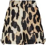 Ganni Leopard Silk-Linen Cargo Shorts