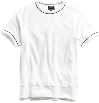 Todd Snyder Piped Terry Cloth Short Sleeve Sweatshirt in White
