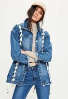 Missguided Petite Blue Lace Up Detail Denim Jacket, Blue