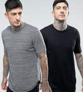 Asos 2 Pack Longline Knitted T-Shirt in Black/Black & White Twist