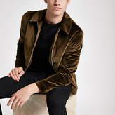 Mens Olly Murs rust velvet harrington jacket