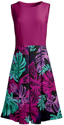 Lily Women's Casual Dresses GRN - Green & Fuchsia Foliage Pleated Sleeveless Midi Dress - Women & Plus