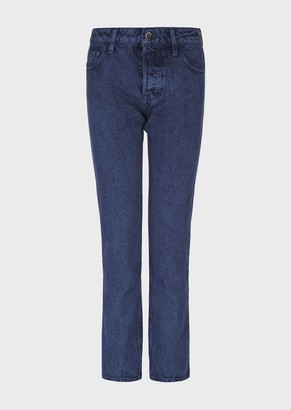 Emporio Armani J60 Regular Fit Jeans In Overdyed-Effect Denim With Marble Effect