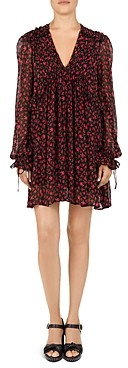 The Kooples Rose Print Silk Babydoll Dress