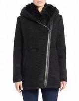 Vince Camuto Faux Fur-Trimmed Asymmetrical Zip Coat