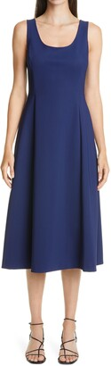 Adam Lippes Bonded Neopene Fit & Flare Midi Dress