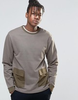 Asos Sweatshirt With Woven Pockets In Khaki