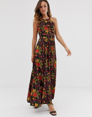 Yumi high neck maxi dress-Black