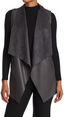 T Tahari Open Front Draped Collar Faux Leather Vest