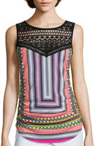 Bisou Bisou Lace Embellished Tank Top