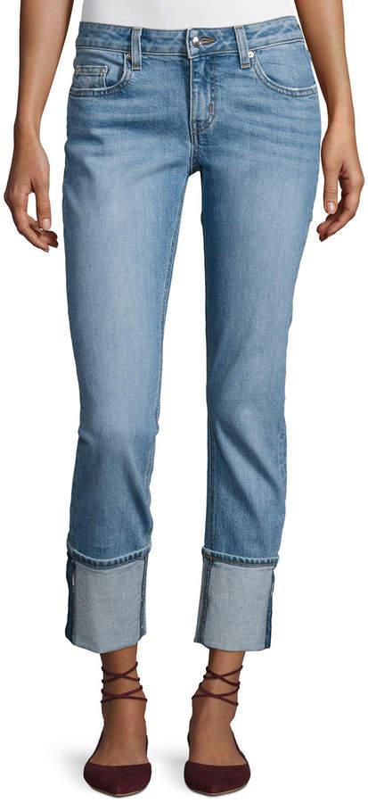 Derek Lam 10 Crosby Mila Mid-Rise Cuffed Slim Boyfriend Jeans, Indigo