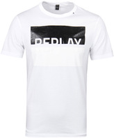 Replay White Monochrome Print T-shirt