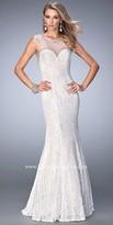 La Femme Illusion Keyhole Back Lace Prom Dress