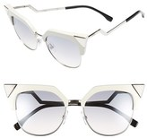 Fendi Women's 54Mm Metal Tipped Cat Eye Sunglasses - Beige/ Palladium