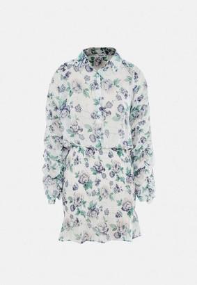 Missguided Floral Chiffon Shirred Skirt Mini Dress