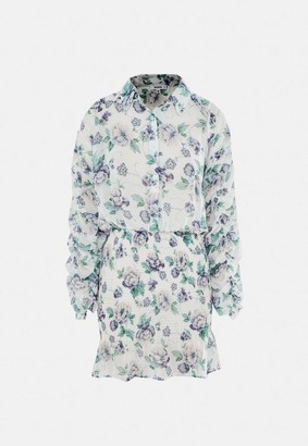 Missguided White Floral Chiffon Shirred Skirt Mini Dress