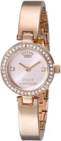 Juicy Couture Women's 1901226 Luxe Couture Crystal-Accented Brass-Plated Stainless Steel Bangle Watch