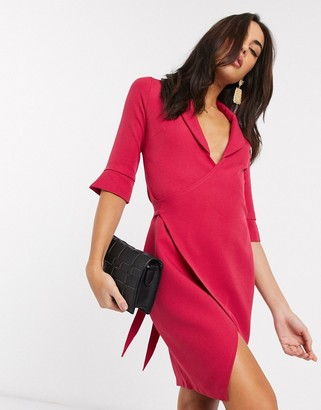Vesper tailored wrap dress in pink