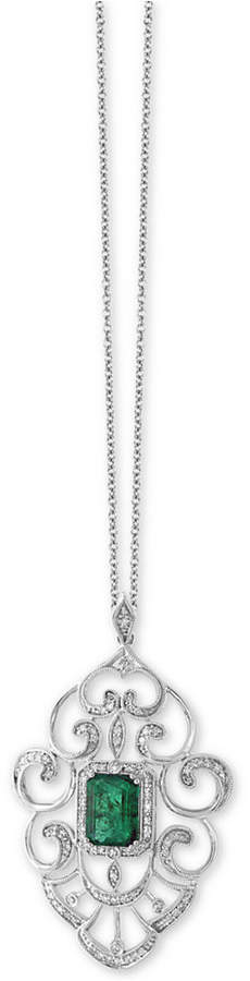 Effy Brasilica by Emerald (1-3/8 ct. t.w.) and Diamond (1/3 ct. t.w.) Pendant Necklace in 14k White Gold, Created for Macy's