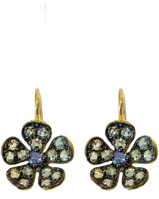 Cathy Waterman Blue and Green Sapphire Petal Violet Yellow Gold Earrings