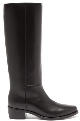 LEGRES Knee-high Leather Riding Boots - Black
