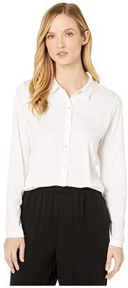 Eileen Fisher Organic Cotton Easy Jersey Classic Collar Shirt (White) Women's Clothing
