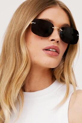 Nasty Gal Womens Frameless is More Oversized Tinted Sunglasses - Black