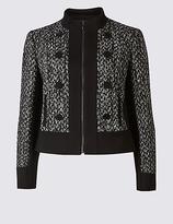 M&S Collection Textured Contrast Hem Tweed Jacket
