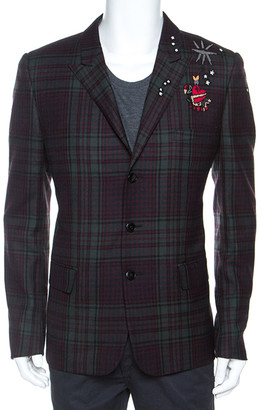 Valentino Bicolor Tartan Plaid Wool Embellished Detail Blazer XL